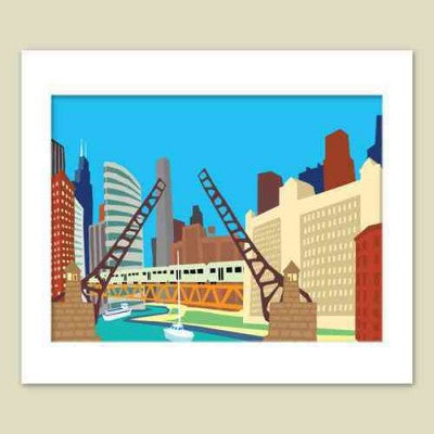 Chicago Bridges Matted Print