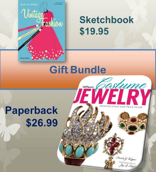 Warman's Costume Jewelry Paperback & How to Draw Vintage Fashion Sketchbook