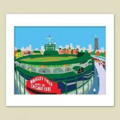 Chicago Wrigley Field Matted Print