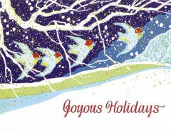 Birds Flying Through the Snow: Art Deco Boxed Christmas Cards