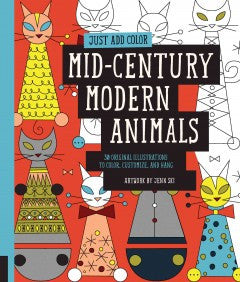Animals, Mid-Century Modern: 30 Original Illustrations to Color, Customize, and Hang