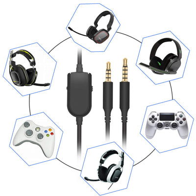 [REYTID] 2m Replacement Astro Gaming Headset Mobile Aux Cable w/ Mute & Volume Control - A30 A40