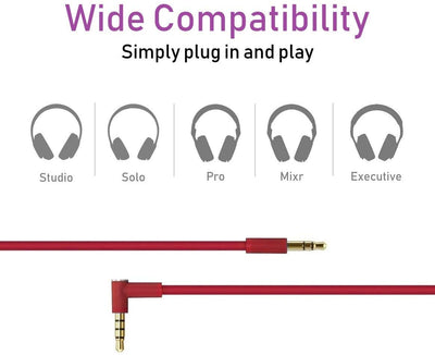 Replacement Red Audio Cable for Beats by Dr Dre Solo3 and Studio 3 Wireless Headphones w/ Remote