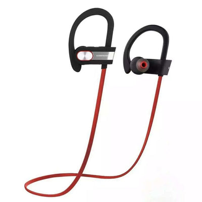 Wireless Sports Earphones w/ In-Line Microphone & Volume Control - HD Sound - Silver/Red