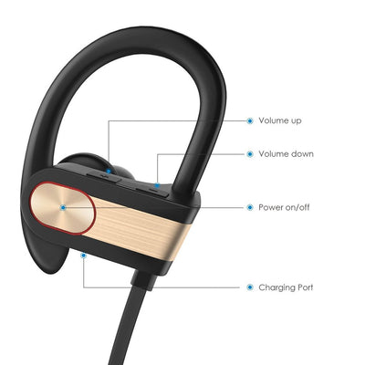 Wireless Sports Earphones w/ In-Line Microphone & Volume Control - HD Sound - Gold/Black