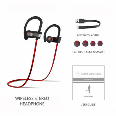 [REYTID] Wireless Sports Earphones w/ In-Line Microphone & Volume Control - HD Sound - Grey/Red