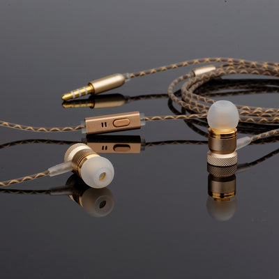 [REYTID] In-Ear Earphones Headphones - HD Sound, Heavy DEEP Bass w/ MIC for iPhone / Android - Gold