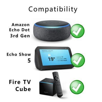 Replacement Mains Charger for Amazon Echo Dot (3rd Gen),  Echo Show 5 and Fire TV Cube Speaker Plug