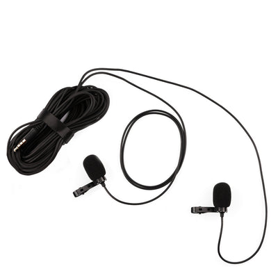 Dual Clip-On 3.5mm Lavalier Microphone for iPhone Android Canon Nikon Cameras GoPro