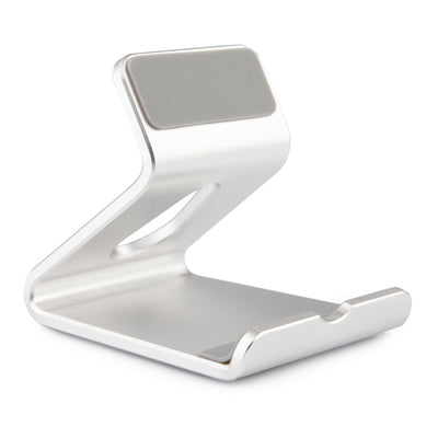 [REYTID] Solid Aluminum Phone Holder Desktop Stand for iPhone and Androids - Light Grey/Silver