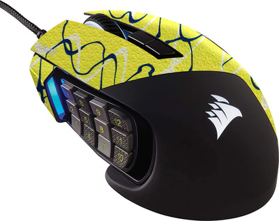 Durasoft Polymer Gaming Mouse Skin Grip Sticker Tape - PRE-CUT - Compatible with Corsair Scimitar RGB Elite  - Slip-Resistant, WaterProof and Ultra-Comfortable