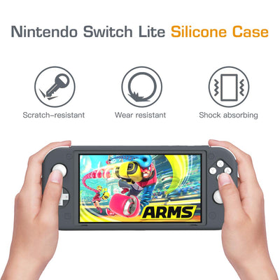 REYTID Grey Full Body Protector Case with Non-Slip Grips Compatible with Nintendo Switch Lite