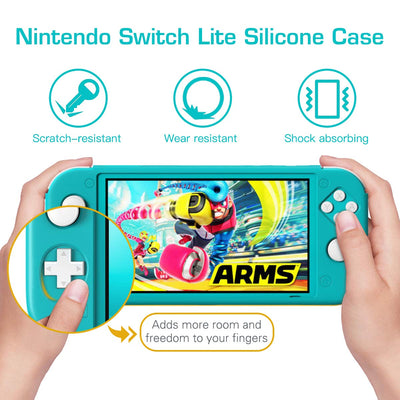 REYTID Turquoise Full Body Protector Case with Non-Slip Grips Compatible with Nintendo Switch Lite
