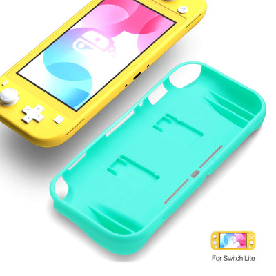 REYTID Turquoise TPU Protector Case with 2x Game Card Storage Slots and Hand Grips Compatible with Nintendo Switch Lite