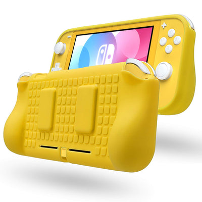 REYTID Yellow TPU Protector Case with 2x Game Card Storage Slots and Hand Grips Compatible with Nintendo Switch Lite
