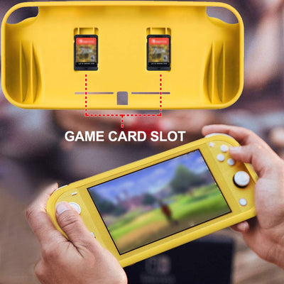 REYTID Grey TPU Protector Case with 2x Game Card Storage Slots and Hand Grips Compatible with Nintendo Switch Lite