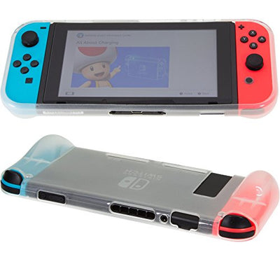 [REYTID] Nintendo Switch Console Protective Case Grip - White TPU Surface - Handheld Travel Case