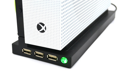 [REYTID] Xbox One S Pro Dual Cooling Fan / Stand Combo - 3 USB Ports - All-in-One Sleek Design Cooler