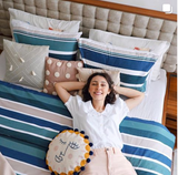 Duygu Turgut Gokpinar with her DIY pillows