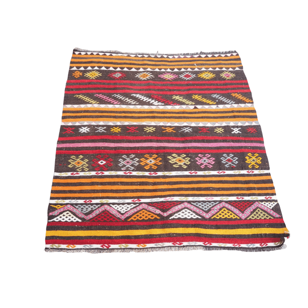 Vintage Embroidered Kilim Rug no6