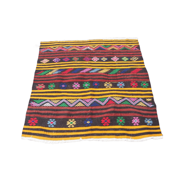 Vintage Embroidered Kilim Rug no8