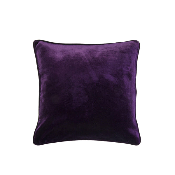 Velvet Pillow with Piping - Purple