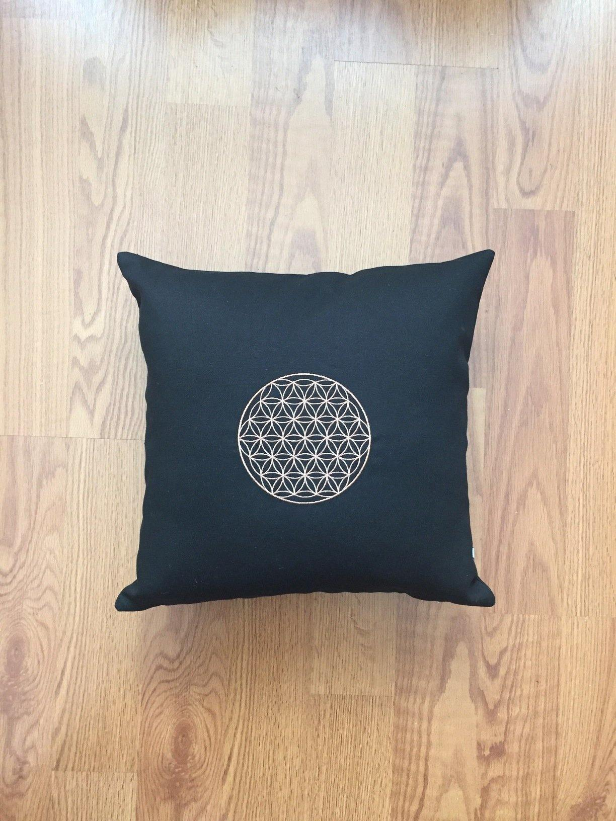 Embroidered Pillow with Flower of Life - Copper