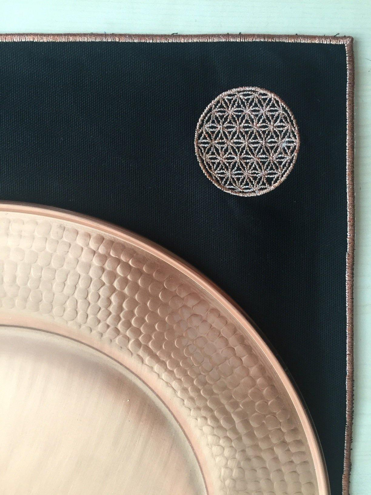 Embroidered Table Mat with Flower of Life - Copper