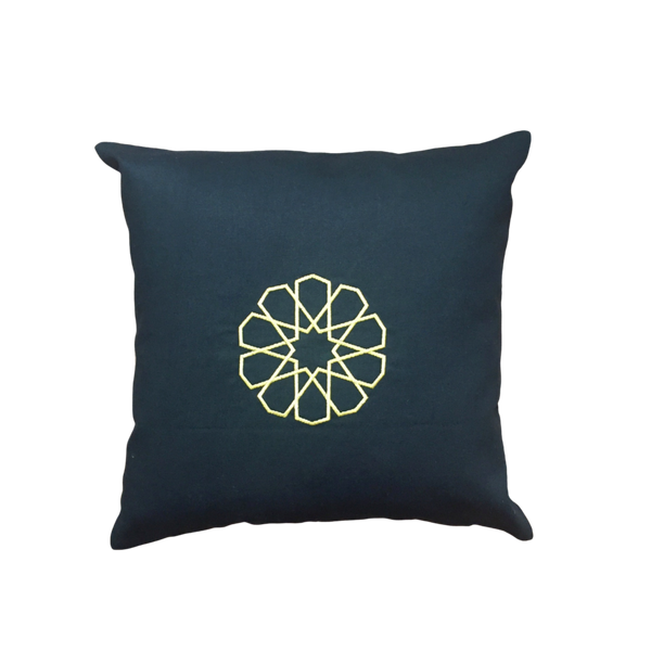 Embroidered Pillow with Seljuk Star - Gold
