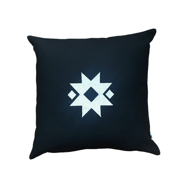 Embroidered Pillow with Star - Silver