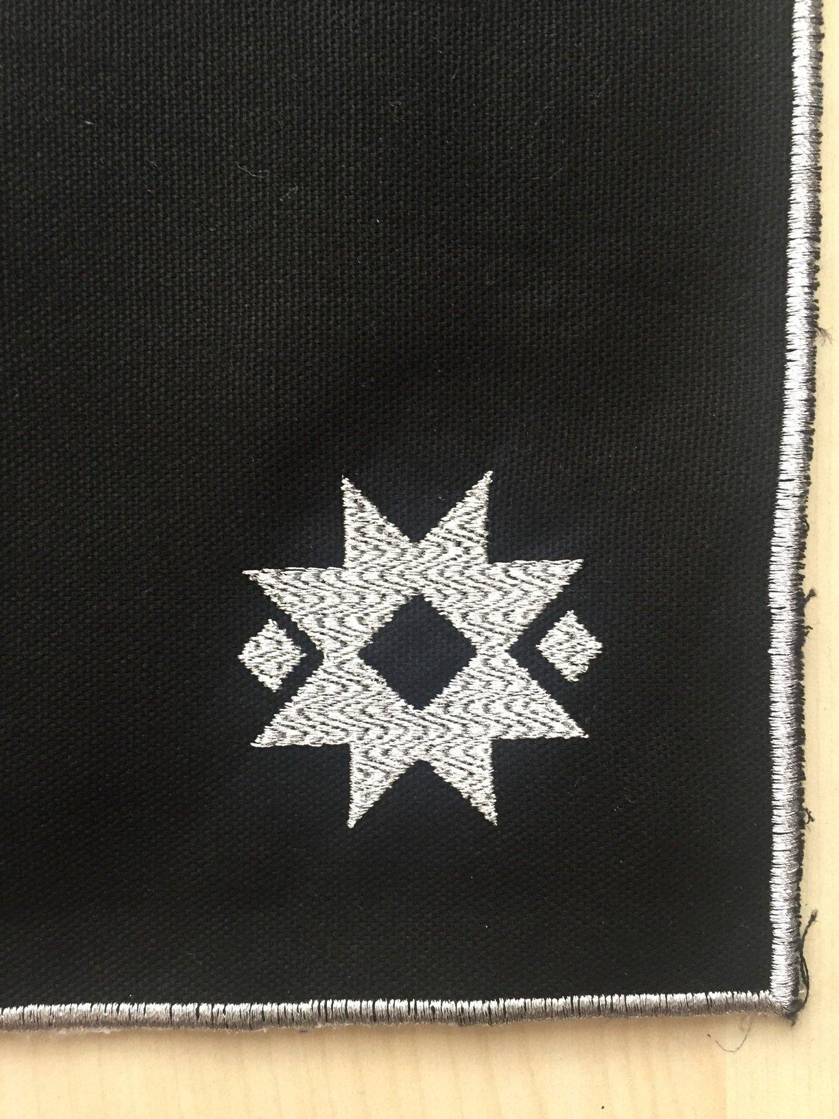 Embroidered Table Mat with Star - Silver