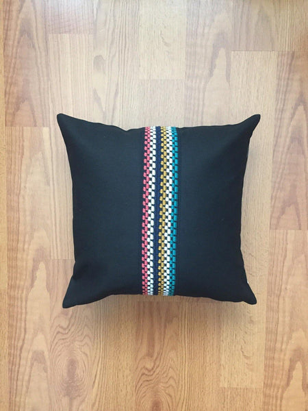 Black pillow cover with detail