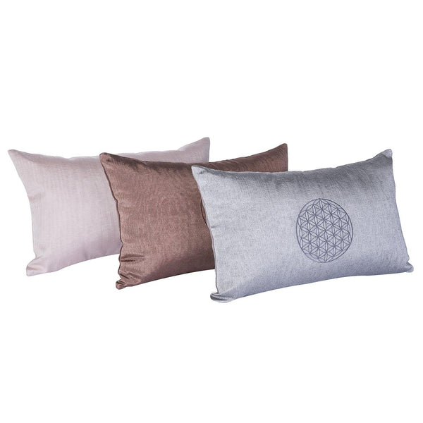 Kutnu Silk Pillow with Embroidery - Brown Flower of Life