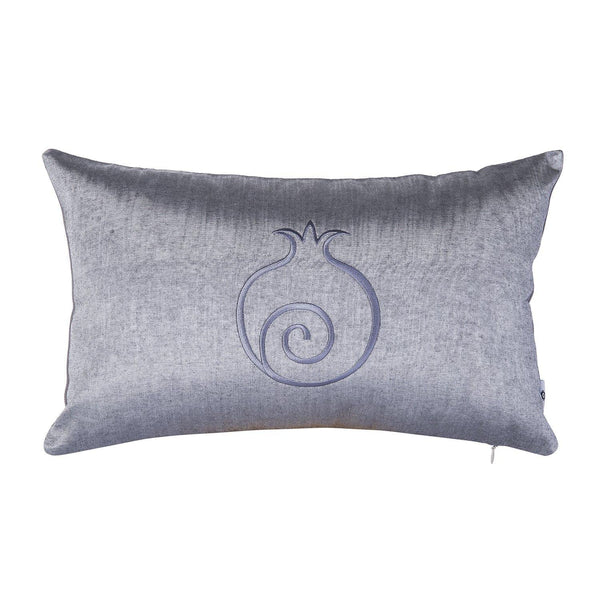 Kutnu Silk Pillow with Embroidery - Grey Pomegranate