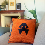Load image into Gallery viewer, Kutnu Silk Pillow with Embroidery - HandsOnHips , Orange Authentic Silk Cushion
