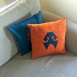 Kutnu Silk Pillow with Embroidery - HandsOnHips , Orange Authentic Silk Cushion
