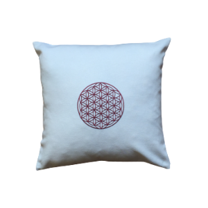 Embroidered Pillow with Flower of Life - Claret Red