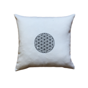 Embroidered Pillow with Flower of Life - Black
