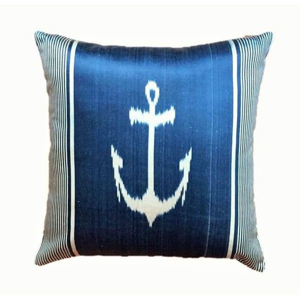 Ikat Silk Pillow - Marin Blue - Yastk
