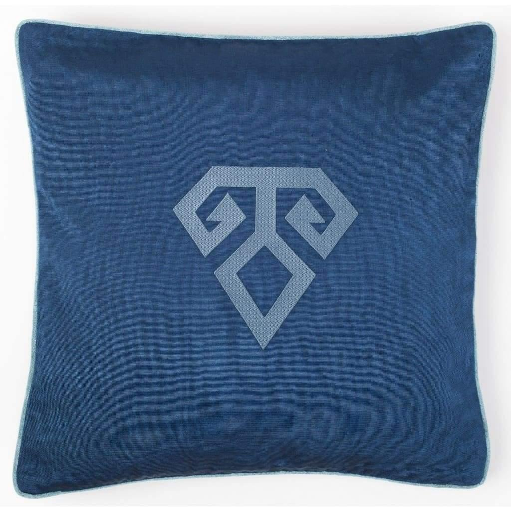 Kutnu Silk Pillow with Embroidery - Fertility Dark Blue Authentic Silk Cushion - Yastk