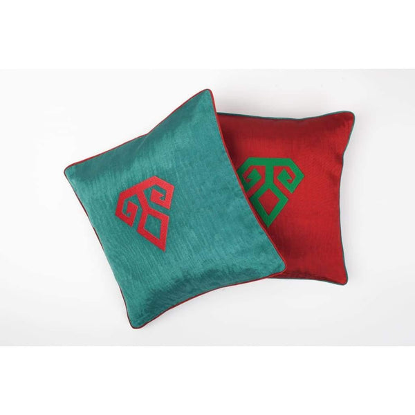 Kutnu Silk Pillow with Embroidery - Fertility Green Authentic Silk Cushion - Yastk