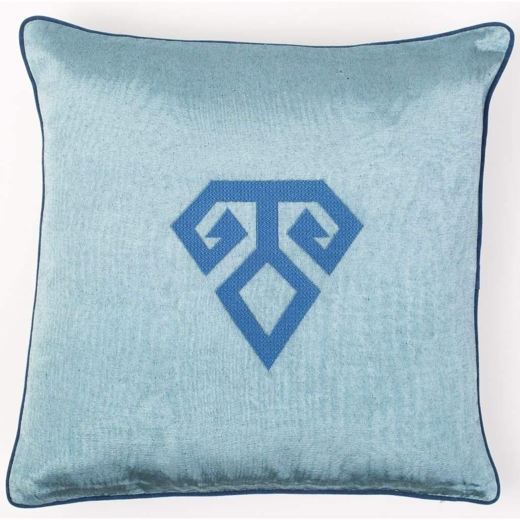 Kutnu Silk Pillow with Embroidery - Fertility Light Blue Authentic Silk Cushion - Yastk