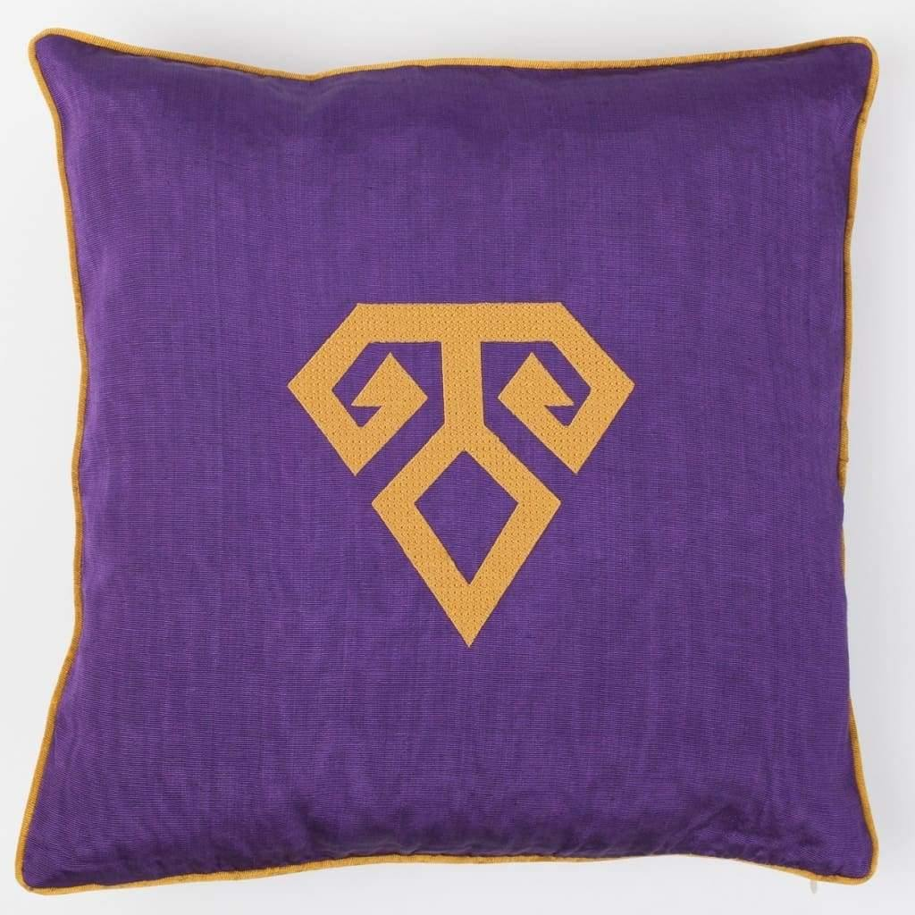 Kutnu Silk Pillow with Embroidery - Fertility Purple Authentic Silk Cushion - Yastk