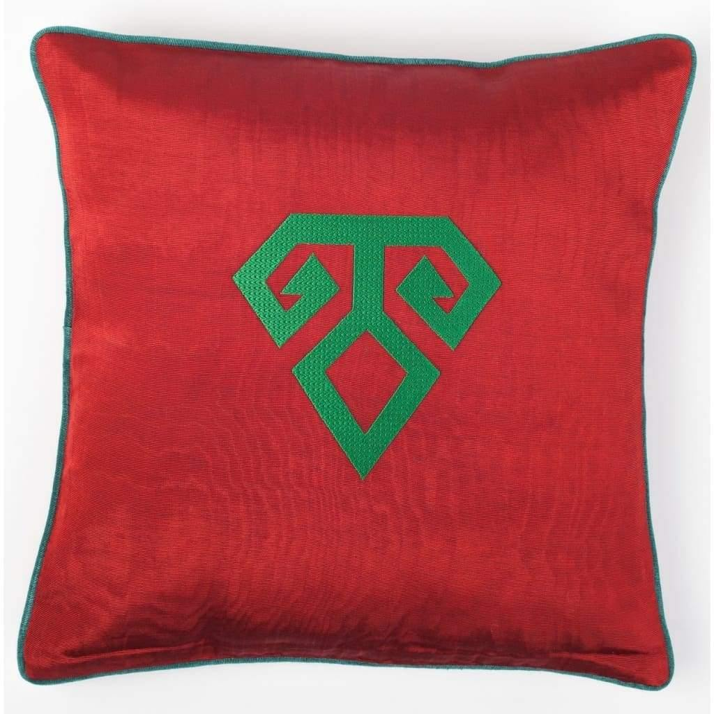 Kutnu Silk Pillow with Embroidery - Fertility Red Authentic Silk Cushion - Yastk