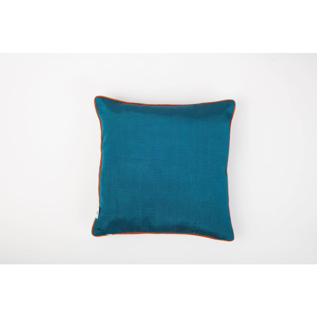 Kutnu Silk Pillow with Embroidery - Fertility Turquoise Authentic Silk Cushion - Yastk