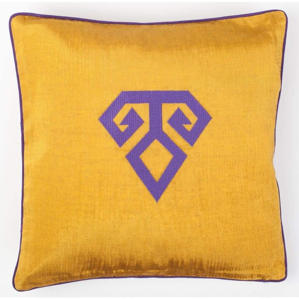 Kutnu Silk Pillow with Embroidery - Fertility Yellow Authentic Silk Cushion - Yastk