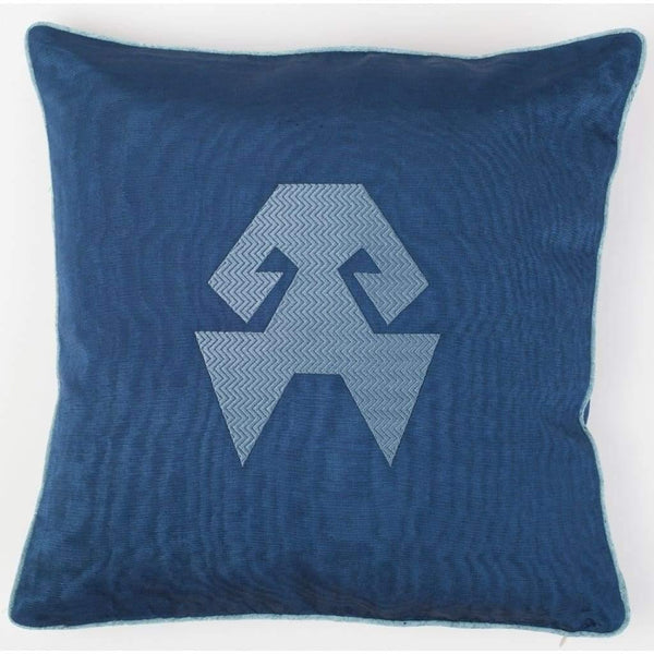 Kutnu Silk Pillow with Embroidery - HandsOnHips Dark Blue Authentic Silk Cushion - Yastk