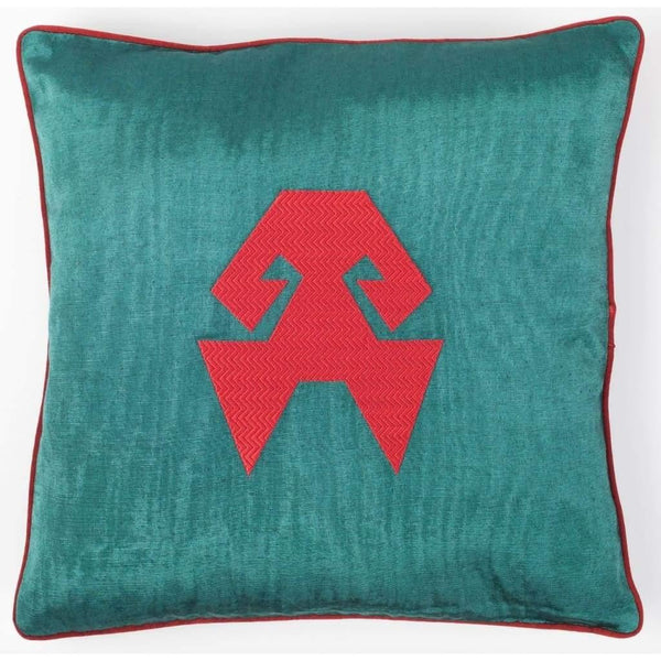 Kutnu Silk Pillow with Embroidery - HandsOnHips Green Authentic Silk Cushion - Yastk