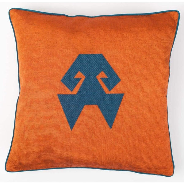 Kutnu Silk Pillow with Embroidery - HandsOnHips Orange Authentic Silk Cushion - Yastk