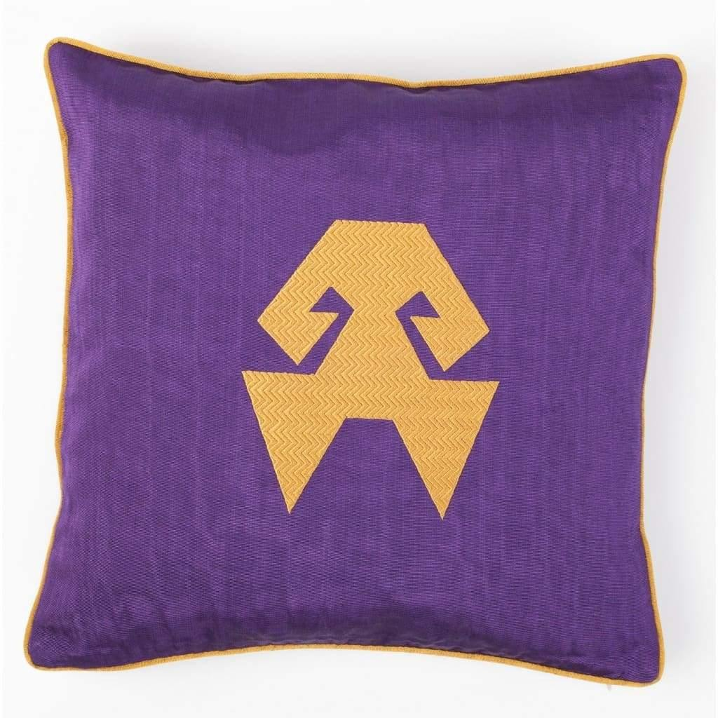 Kutnu Silk Pillow with Embroidery - HandsOnHips Purple Authentic Silk Cushion - Yastk